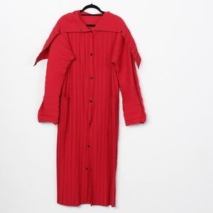 Red Babette SF pleated long taxi coat